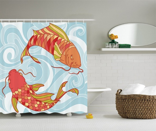 Hand Drawn Koi And Sea Waves Colorful Fish Oriental Deisgn Polyester Fabric Bathroom Shower Curtain