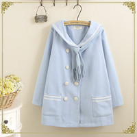 New Fashion Navy Collar Cute Long Woolen Coat Jacket for Women Button Stitching Thick Woolen Casual Coat Embroidered Letters