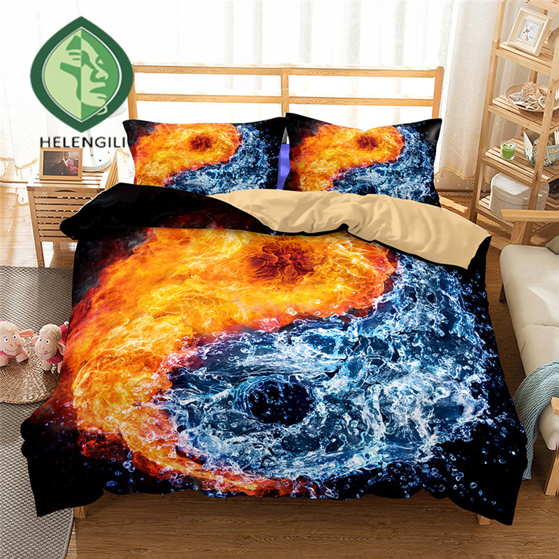 HELENGILI 3D Bedding Set Yin Yang Print Duvet cover set lifelike bedclothes with pillowcase bed set home Textiles #2-04HELENGILI 3D Bedding Set Yin Yang Print Duvet cover set lifelike bedclothes with pillowcase bed set home Textiles #2-04