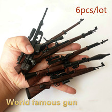 6 teile/los Welt Berühmte Pistolen WW2 Gewehr Montage 4D Gun Bausteine Rakete 38 98 K Modell Militärischen PUBG Waffen spielzeug