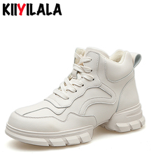 купить Kiiyilala Winter Thick Bottom Women Sneakers With Plush Height Increasing Platform Ankle Boots Shoes Women Non-slip Snow Boots дешево