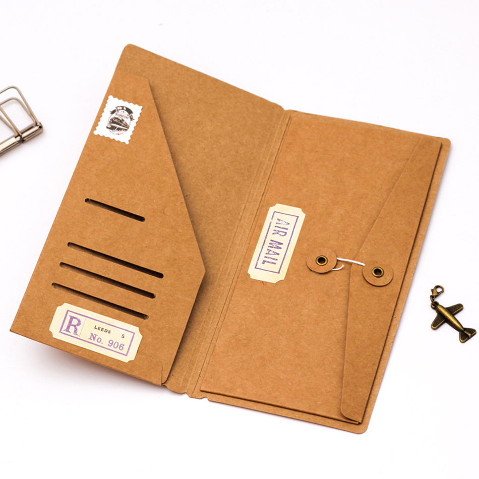 Filler Papers Notebook Traveler Kraft Paper Pocker Folder Fail Pemegang Perniagaan Perniagaan