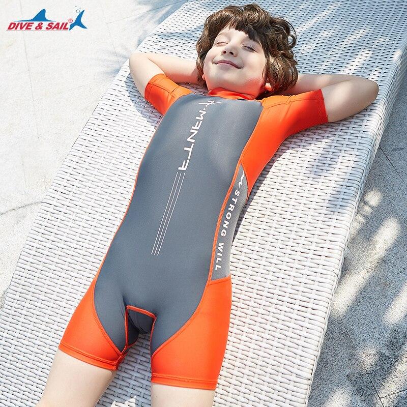 Kids Boys Swimsuit UPF50+ One-Piece Rash Guard Swimsuit Jump Suit Dive Skin Sun UV Protective Back Zipper Girls Child 3-12 Years