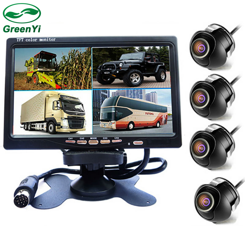 GreenYi 7 LCD 4CH Video Input Car Parking Monitor With Front Rear Left Right Side View