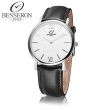 Para hombre de Cuarzo Relojes de Lujo Simple Reloj de Acero Inoxidable Correa de Cuero Hombre Reloj Relogio masculino erkek kol saati Besseron
