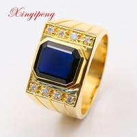 Xin yi peng 18 k желтое золото инкрустированное 3,5 карат кольцо из натурального сапфира, мужское кольцо, бриллиант