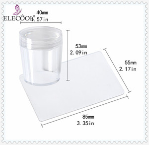 ELECOOL 1Set Clear Transparent Jelly Silicone DIY Nail Art Manicure Tool Transfer Nail Stamper Scraper Plate Set with Cap Woman