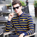 Striped Turn-Down Collar Polo Shirt Mens Brand Clothing Fashion Polos Long Sleeve Shirts For Men Slim Fit Hombre Camisas M-XXXL
