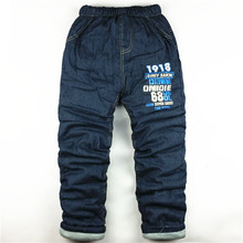 Мальчики/девушки активного утолщаются bibicola отдыха штаны теплая джинсы зима детей брюки