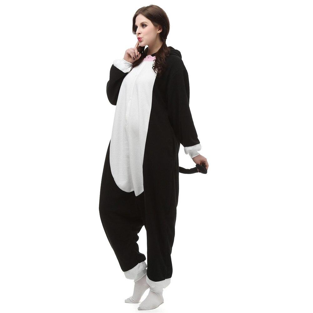 Unisex Adult Anime Black Cat Polar Fleece Cosplay Costume Pajamas Party Onesies Pyjamas Sleepwear Fancy Dress One-Piece
