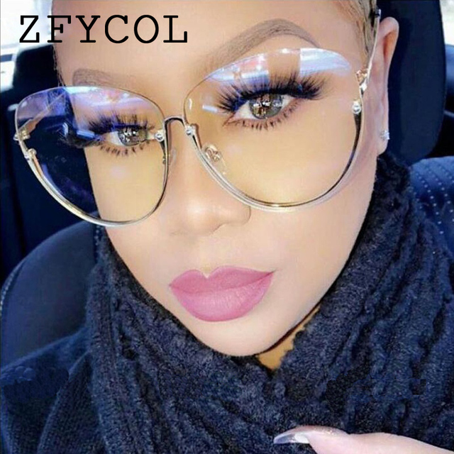 2abcf9cf5557 ZFYCOL Oversize Ladies Metal Frame Clear Lens Glasses Fashion Women  sunglasses Luxury Brand Design Female Pink Eyewear