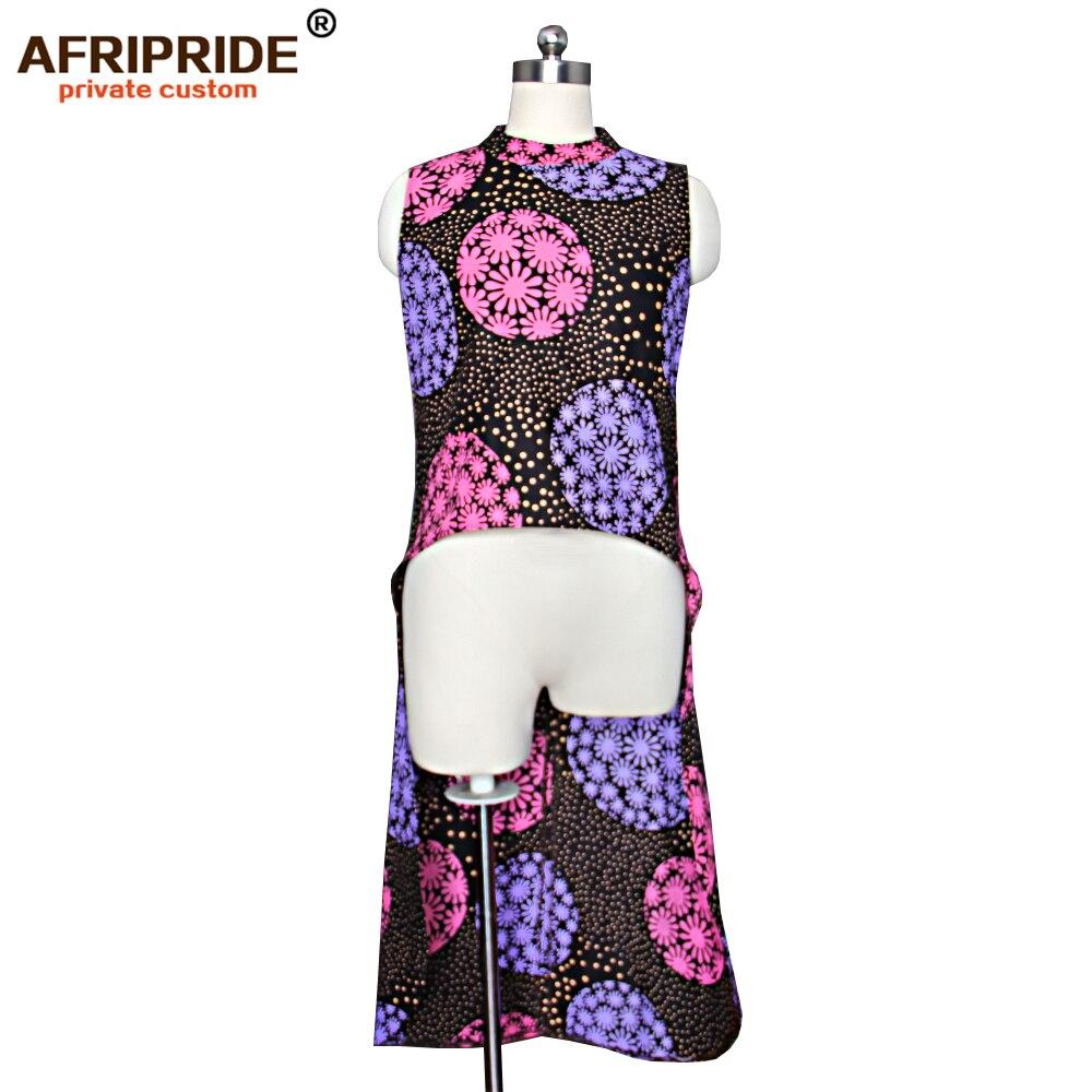 2019 アフリカプリントの新しいトップ女性 AFRIPRIDE テーラーメイドノースリーブ o ネックミッドカーフ長さの女性のコットンシャツ a1822006  グループ上の ノベルティ & 特殊用途 からの アフリカ 服 の中 2