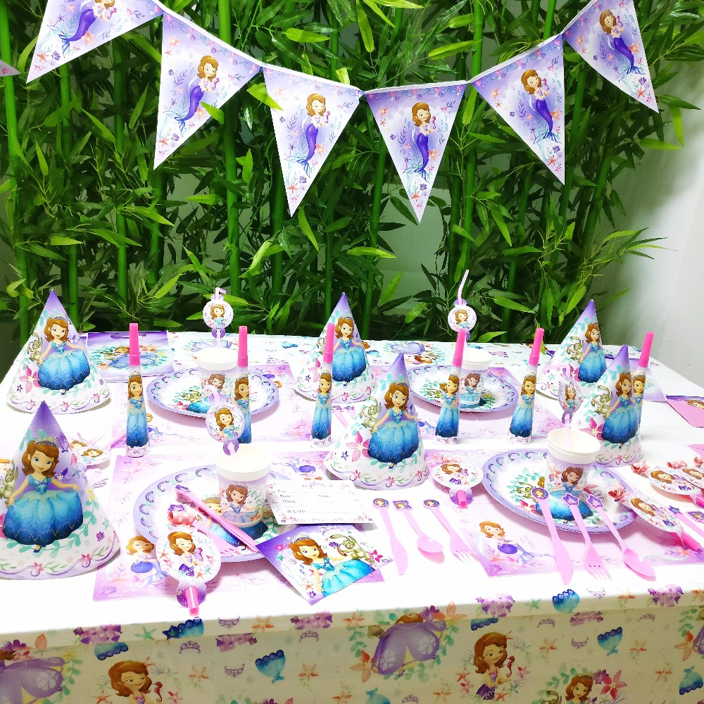 DISNEY Sofia Priness Kids Birthday Queen Movie Baby Party Decorations Girl Supplies Decoration Set In Disposable Tableware