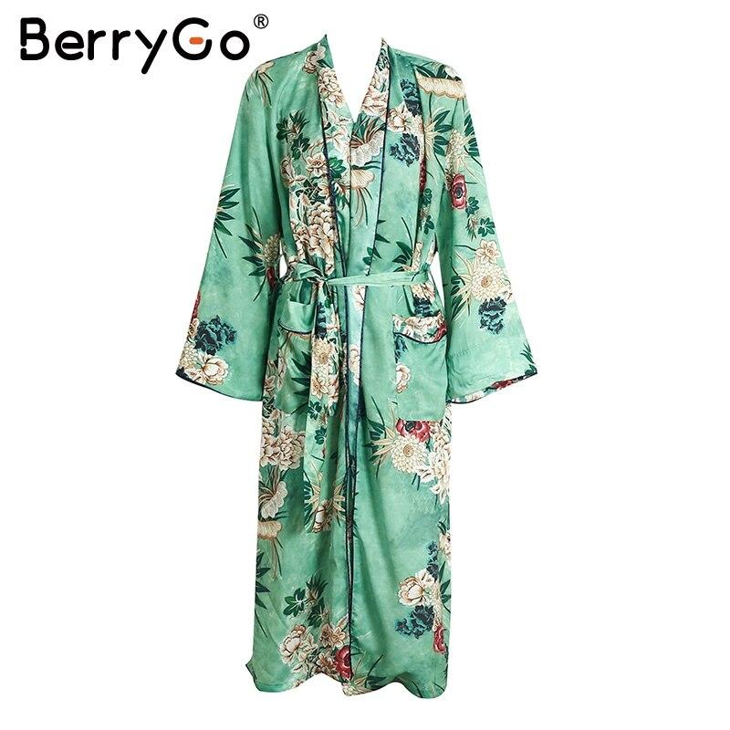 BerryGo blusa de estampado Floral camisa larga sashes pocket cardigan kimono kim