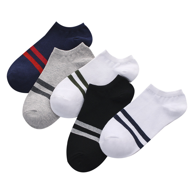 Men Leisure Cotton Shallow Mouth Short Sock Solid Color Stripe Thin Short Socks Absorb Sweat Deodorant Hosiery