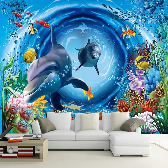 3D Underwater World Cartoon Childrens Bedroom Wall Murals Papel De
