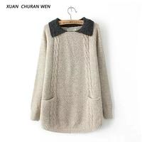 XUANCHURANWEN 2017 New Oversized Women Pullover Sweater Long Sleeve Turn Down Collar Femme Sweater Umper Knitwear