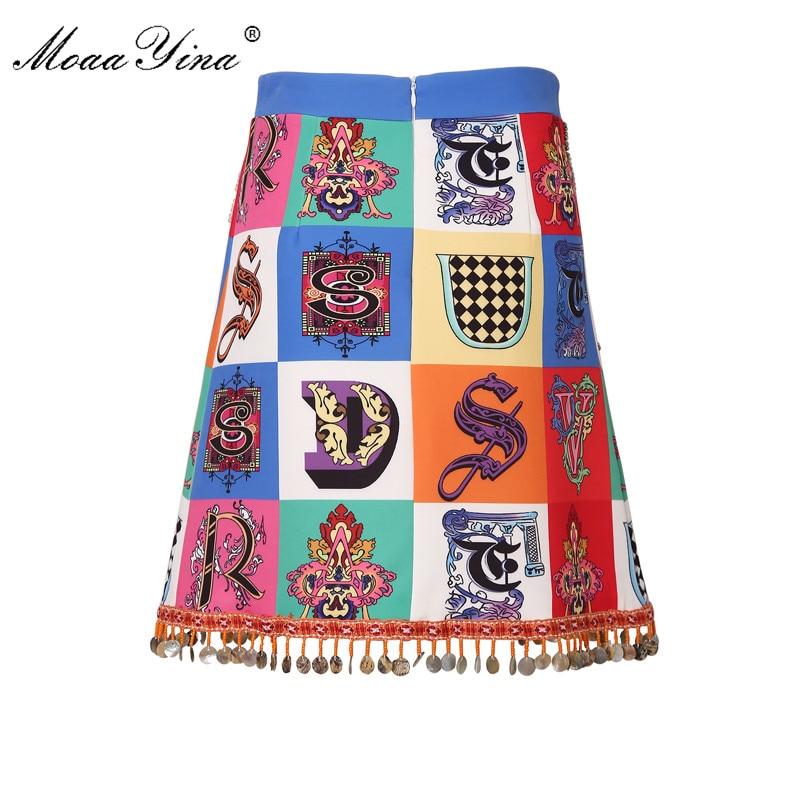 MoaaYina Fashion Designer Half skirt Spring Summer Women s Beading Letter Print Vintage Half skirt
