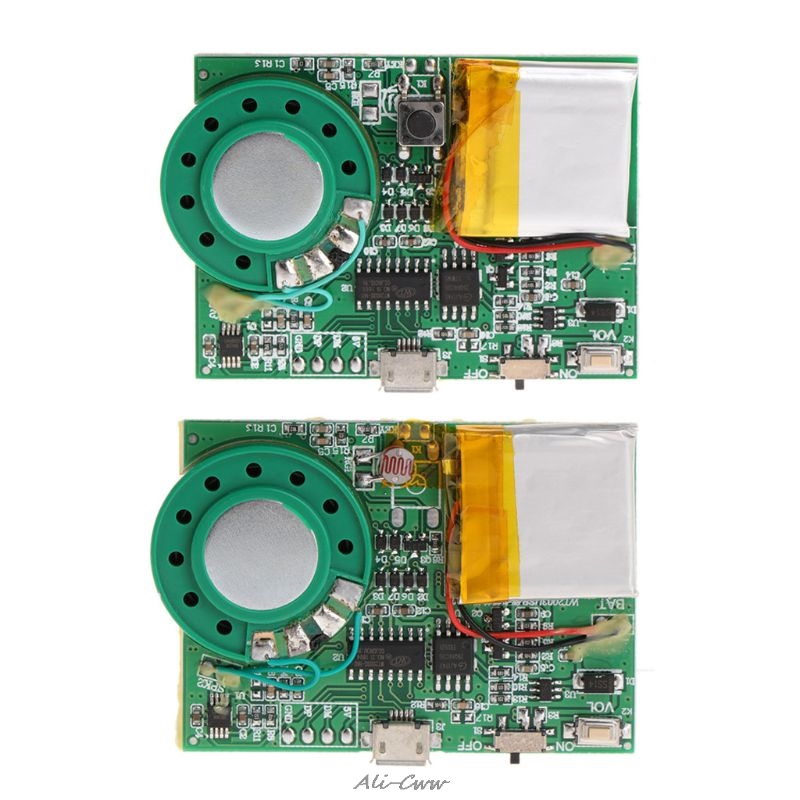 Light Sensor Sensitive Key Control MP3 Sound Playback Circuit Module for Greeting Card with Speaker Lithium Battery USB Download image