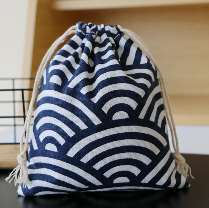 Japanese Blue Fan Linen Gift Bag Sack 10X15cm 4 x6 11x14cm 13x17cm pack of 100 Soap