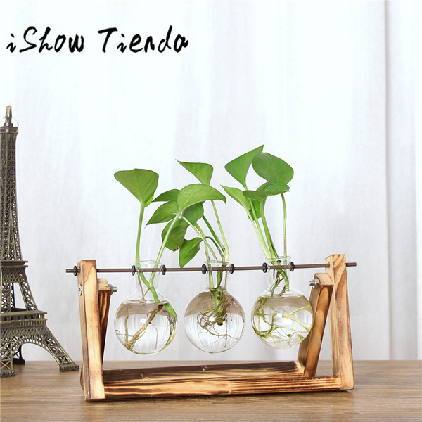 9993c311ee8 Mouse over to zoom in. ISHOWTIENDA Vintage Creative Hydroponic Plant  Transparent Vase Wooden ...