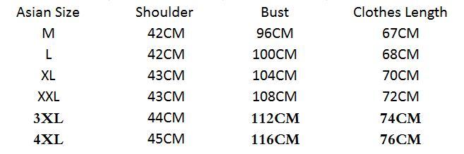 Size Chart of Long Sleeve Mandarin Collar T-Shirt