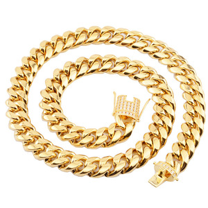 Image 2 - 6 18mm wide Stainless Steel Cuban Miami Chains Necklaces CZ Zircon Box Lock Big Heavy Gold Chain for Men Hip Hop Rock jewelry