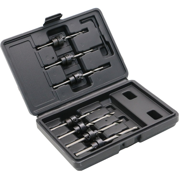 8pc/Set Countersink Drill Bits With Adjustable Depth Stop Collar Wood Woodworking Drilling Hole