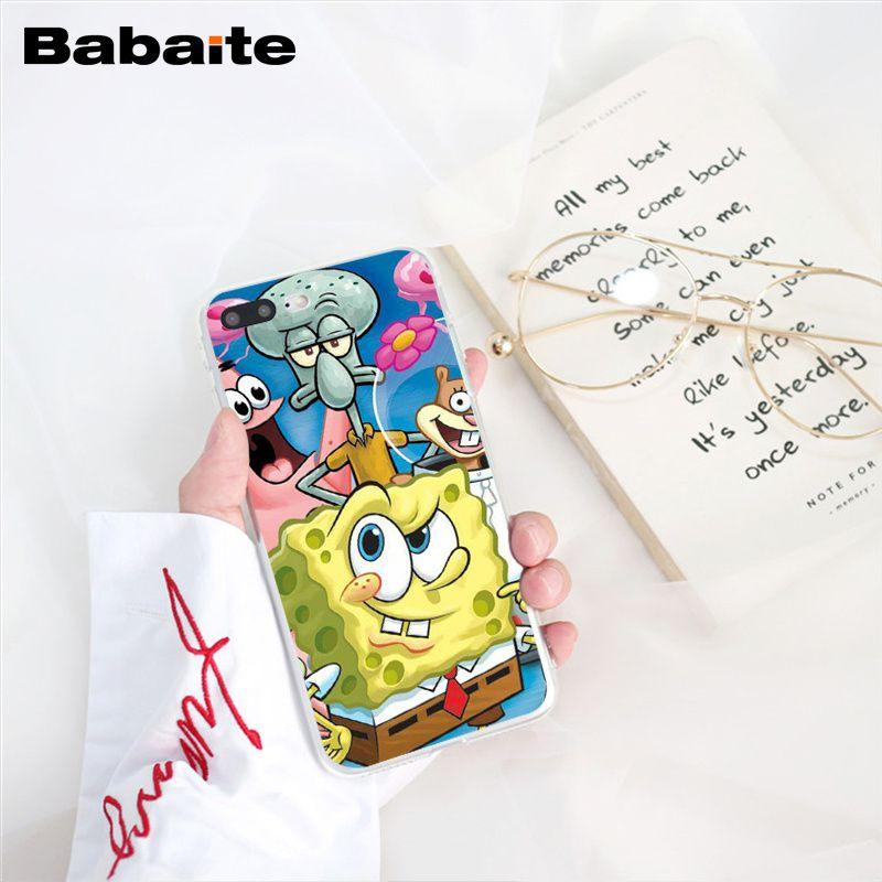 Babaite Spongebob Squarepants Sponge Bob Phone Case For Iphone 6S 6plus 7 7plus 8 8Plus X Xs MAX 5 5S XR 10