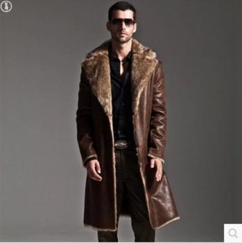 Winter High Imitation Fox Fur Long Jacket Trench Coat Men's Fur One Coat Windbreaker Male Suit Collar Reversible Overcoat S-6XL
