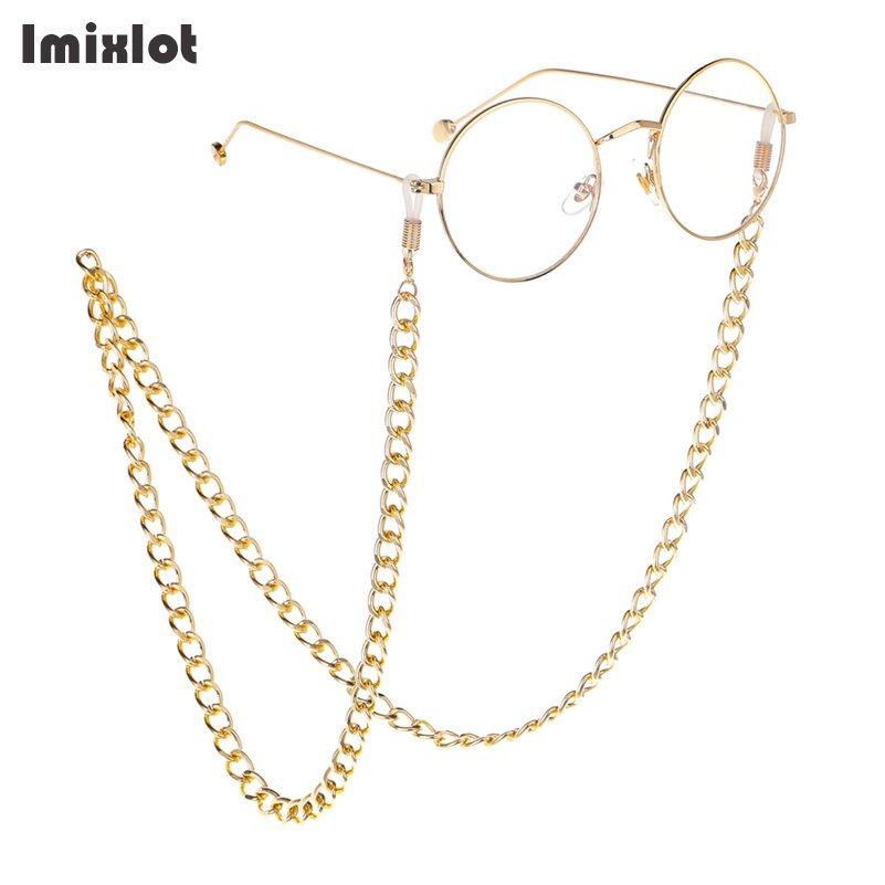 Gold/Silver Color Thick Sunglasses Lanyard Strap Necklace Metal Eyeglass Glasses Chain Cord Reading Glasses Strap