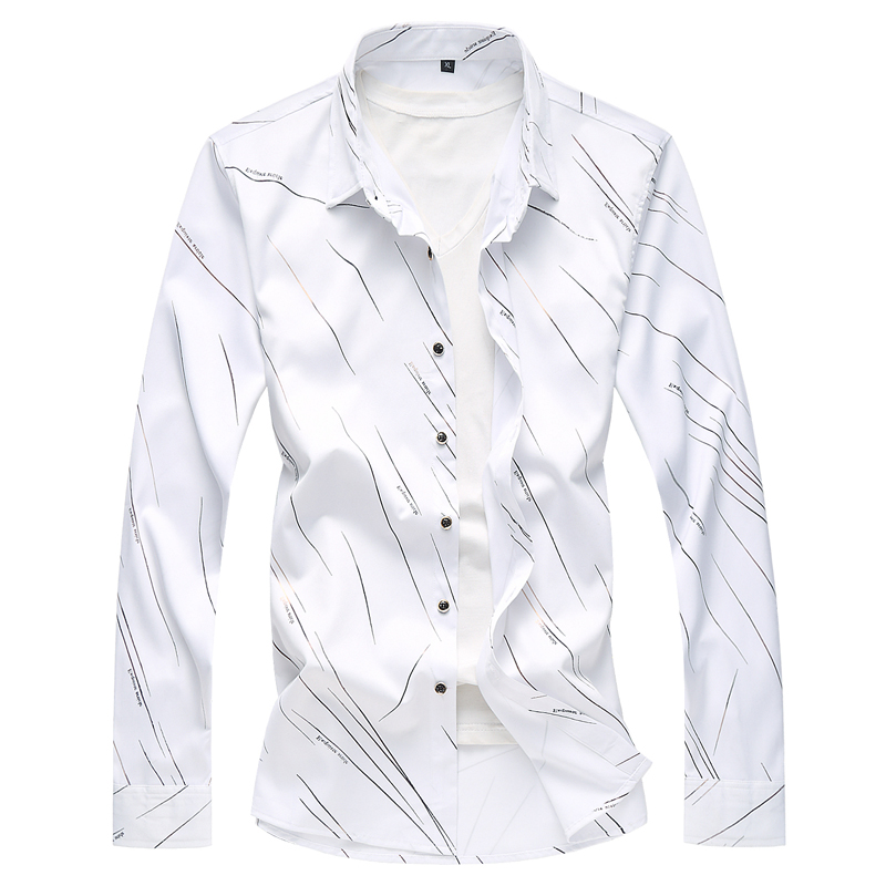MOGU 2019 Summer Long Sleeve Mens Casual Shirts Fashion Breathable Striped Blouse Hawaiian Plus 6XL 7XL 5 Colors For Men's Top