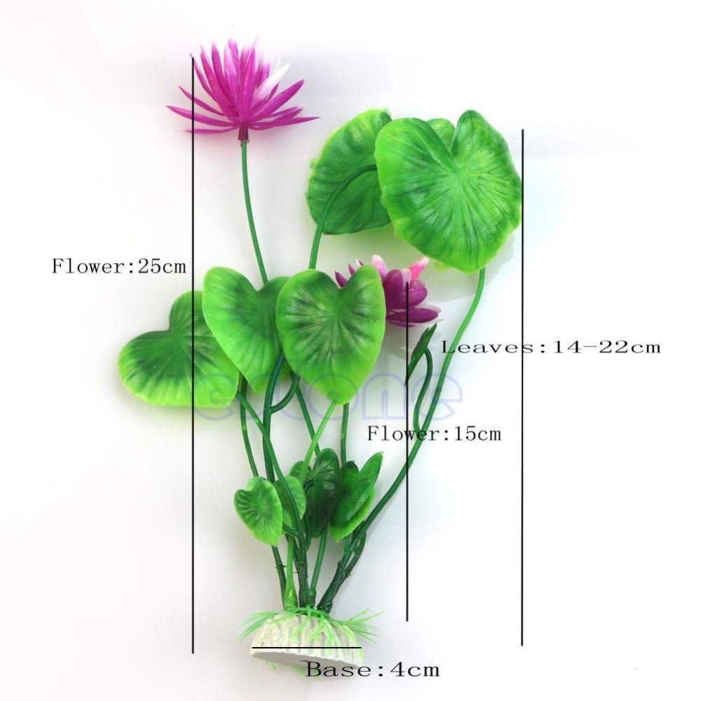 Artificial Plastic Lotus Flower Grass Plant Aquatic Fish Tank