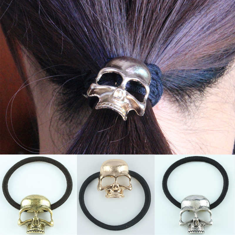 Sale 3 Colors 1Pc Retro Metal Punk Gothic Hair Bands Skull Hair Clip Jewelry Halloween Xmas Gift