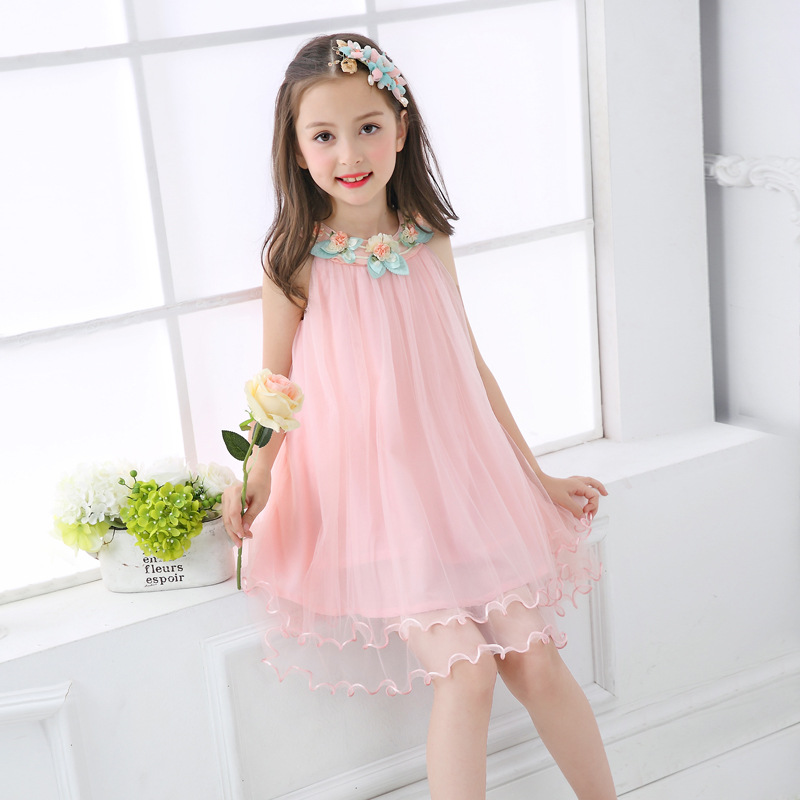 2017 Summer New Girls Princess White Pink Sleeveless Appliques Preppy Style Ball Gown Knee-Length Party/Beach/Holiday Dress