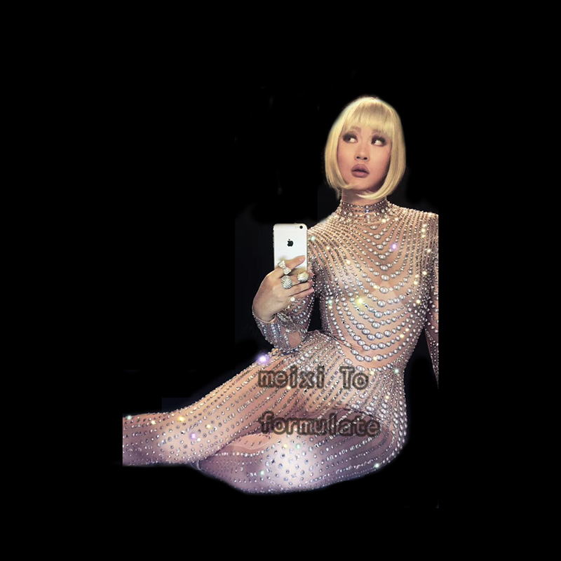 Sexy sparkling pearl jumpsuit nightclub concert singer dancer costume