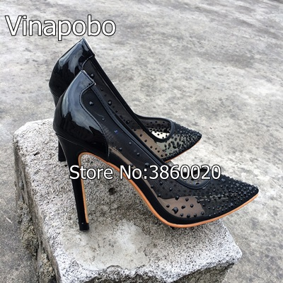 e2167ba7624 New Arrival Chic Black Lace Mesh Thin High Heels Classy Women Lace Flower  Pointy Stiletto Heel Pumps Fashion Shoes Hot Selling-in Women s Pumps from  Shoes ...