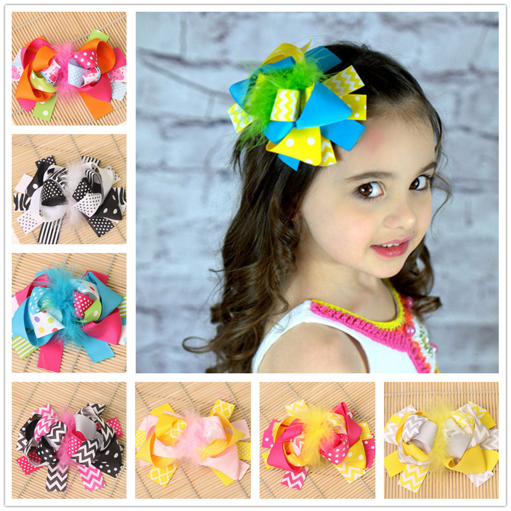 6 boutique kids hair clips