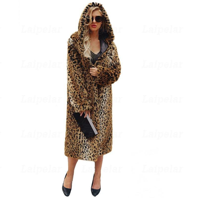 Kadın Giyim'ten Yapay Kürk'de Laipelar taklit kürk kadın kürk mantolar kış leopar baskı desen büyük boy uzun ceket palto lüks kalın sıcak dış giyim'da  Grup 1