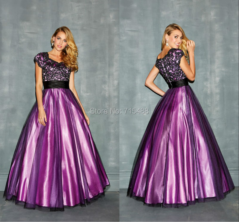 Cap Sleeve Ball Gown Long Purple Beading Ruffle Cheap Indian ...