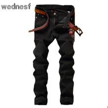 #1953 2017 Slim Plum blossom вышитые джинсы мужские Модные Мужские черные джинсы Поддельные дизайнер одежды Джинсы homme Дешевые джинсы мужские