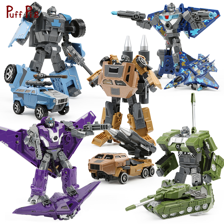 Transformation Robot Figures Metal Alloy Military Tank Aircraft Vehicle Truck Assembly Deformation Toy 5 in 1 Robot Kid Toy Gift