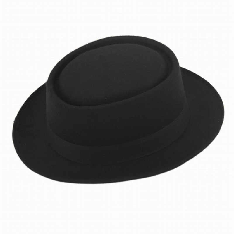 534fadb9 2016 Fashion Unisex Felt Pork Pie Men curled edg cap European American flat  caps circular top