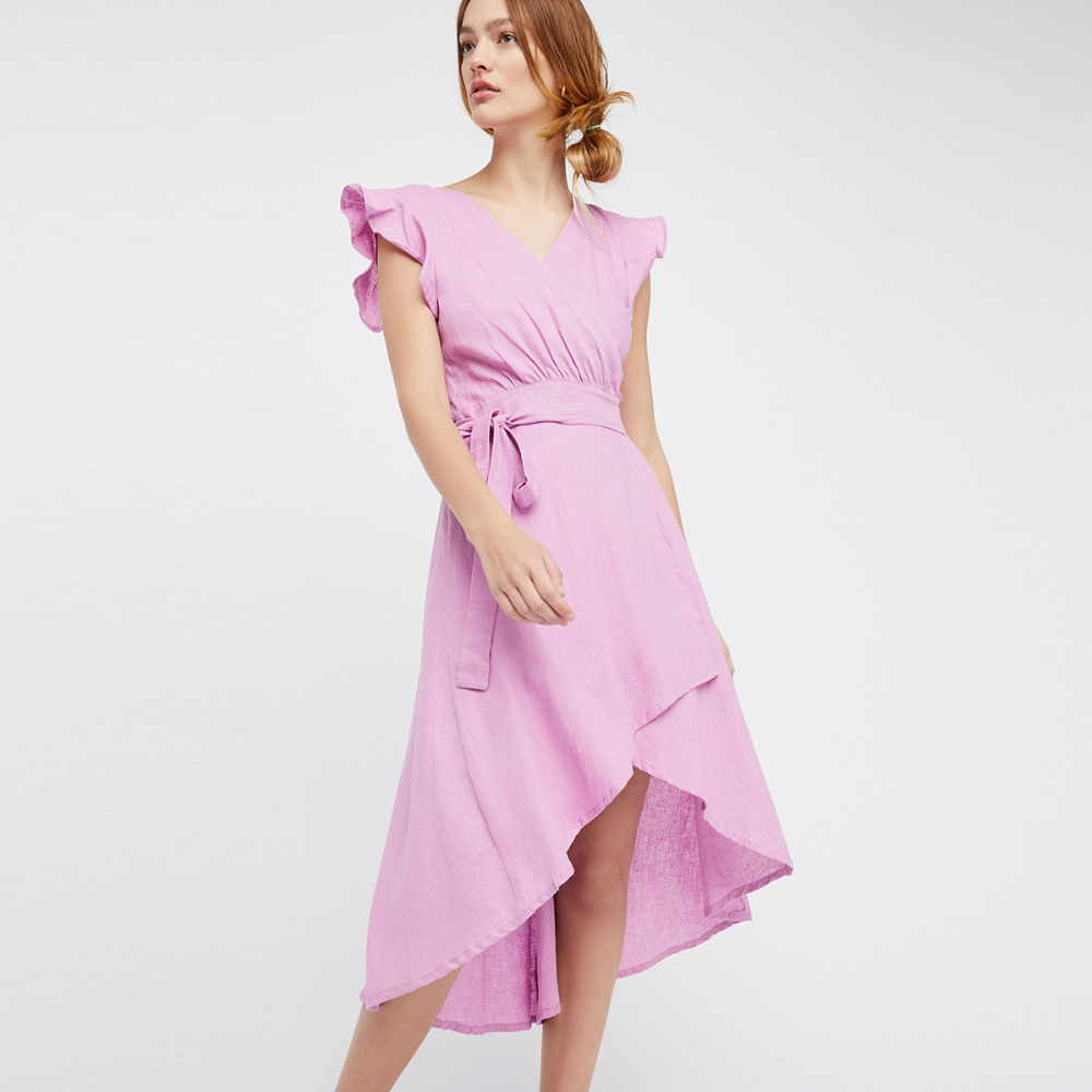 Luz púrpura flutter manga irregular WRAP vestidos para las mujeres ...