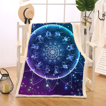 Zodiac Blanket Lotus Mandala Sherpa Fleece Blanket Bling Glitter Galaxy Couch manta 150x200 Indian Astrology Bedding advken manta tank
