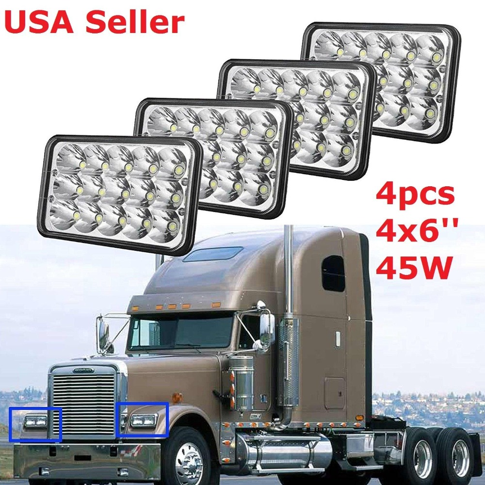 4 pcs 4x6 LED Headlight Bulb, Sealed Beam Replace Hid Xenon, Rectangular H4651 H4652 H4656 H4666 H6545 For Kenworth