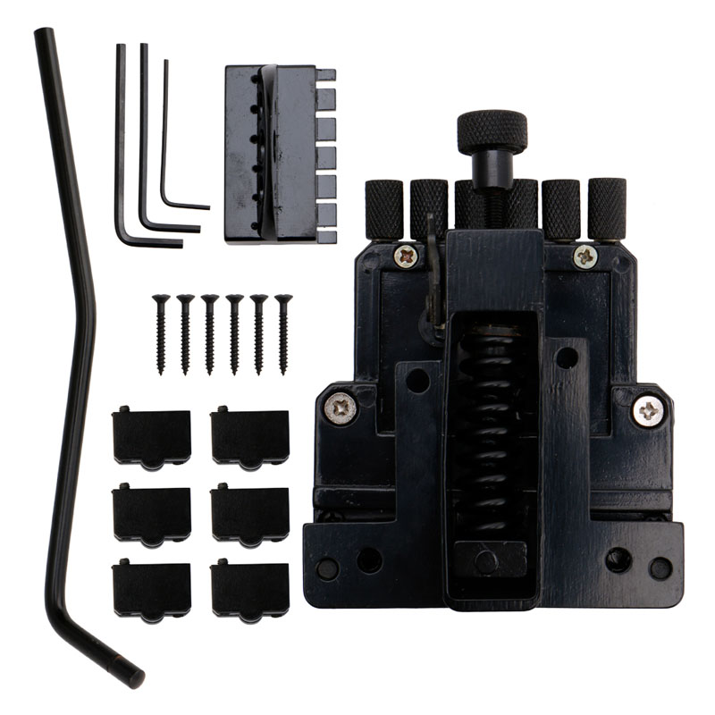 Black 6 String Saddle Guitar Tailpiece Tremolo Bridge For Headless Guitar Replacement new style 6 string saddle headless guitar bridge tailpiece with worm involved string device