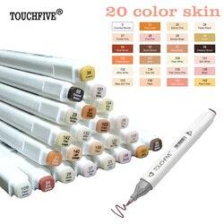 TOUCHFIVE 24 Colors Sketch Skin Tones Marker Pen Artist Double Headed Alcohol Based Manga Art Markers brush pen