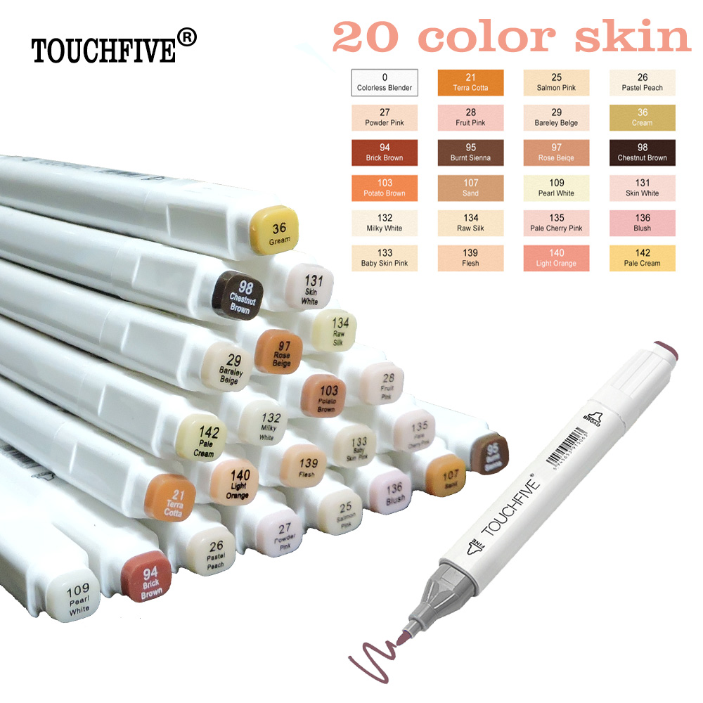 TOUCHFIVE 24 colores Sketch piel tonos marcador pluma artista doble cabeza Alcohol basado Manga arte marcadores pincel pluma