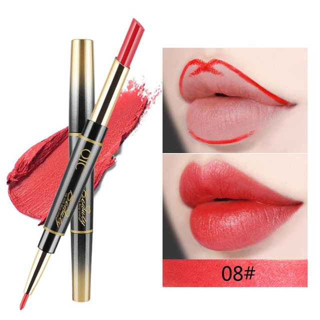 QIC Matte Lipstick Wateproof Double Ended Long Lasting Lipsticks Brand Lip Makeup Cosmetics Nude Dark Red Lips Liner Pencil 6